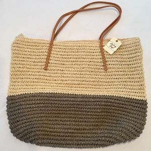 NWT Rolling Sage Straw Beach Tote Bag Beige Grey